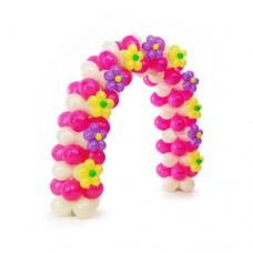 Бело-розовая арка с желыми и фиолетовыми цветочками из воздушных шаров