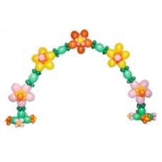 Арка с разноцветными ромашками из воздушных шаров