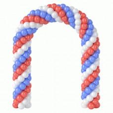 Витая арка из белых, красных и синих воздушных шаров