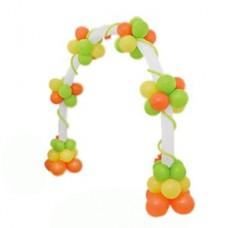 Арка из желтых, оранжевых, салатовых воздушных шаров