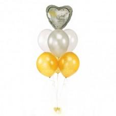 Фонтан с 6 шарами и сердцем из золотых и серебряных воздушных шаров