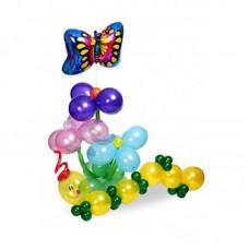 Фонтан с бабочкой и цветком из воздушных шаров