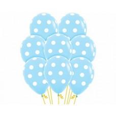 Голубые шары в белый горошек