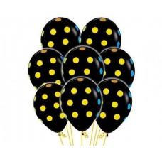 Букет черных шаров в цветной горошек