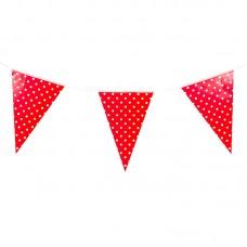 Гирлянда флажки, Красные точки  2,8м