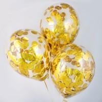 Гелиевые шарики с круглым золотым конфетти