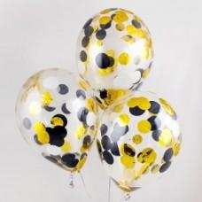 Гелиевые шары с черным и золотым конфетти