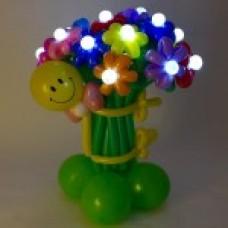 Букет из 15 разноцветных цветов от смайлика светящийся