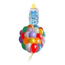 Набор из 25 разноцветных шаров и шар-бутылочка из фольги для новорожденного