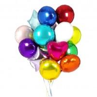 Набор из 15 разноцветных шаров из фольги – круглые, звезды, сердца