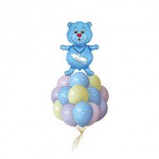 Набор из 15 разноцветных шаров и шар-медвежонок из фольги для новорожденного
