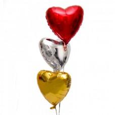 Набор из 3 разноцветных шаров – сердец из фольги