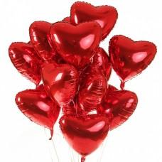 Набор из 15 красных сердец из фольги