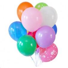 Набор из 10 разноцветных шаров с рисунком и без рисунка из латекса