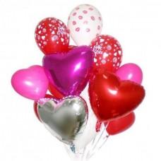 3 сердца из фольги, 5 сердец из латекса, 3 круглых шара с рисунком