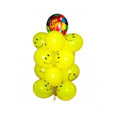 Набор из 13 желтых воздушных шаров смайликов и 1 шар из фольги