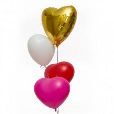Набор из 3 разноцветных сердец из латекса и 1 золотого из фольги