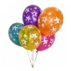 Набор из 5 разноцветных шаров из латекса с рисунком звезд