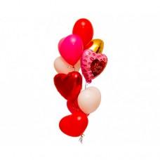 Набор из 6 разноцветных сердец из латекса и 3 из фольги