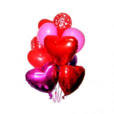 Набор из 4 разноцветных сердец из латекса, и 4 из фольги, и 3 круглых шаров