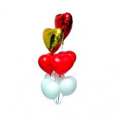 Набор из 6 разноцветных сердец из латекса и 2 из фольги