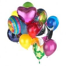 Воздушные шары звезды, круги и сердца из латекса и фольги 14 штук