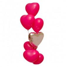 Набор из 6 розовых сердец из латекса и 1 из фольги