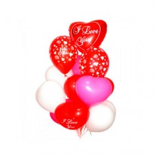 Набор из 10 разноцветных воздушных шаров сердец и 2 круглых шаров из латекса