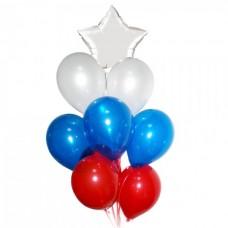 Связка триколор из воздушных шаров из белой звезды