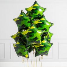 Букет 10 воздушных шаров Звезды Милитари