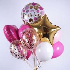 Связка шаров С днем рождения малиновый и золотой