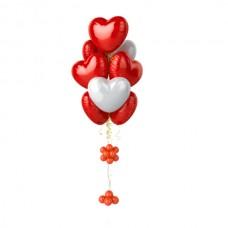 Фонтан из 10 красных и белых сердец – воздушных шаров