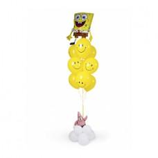 Фонтан с Губкой Бобом и Патриком и смайликами – воздушными шарами