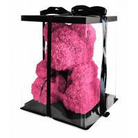 Медведь из розовых роз с бантом 40 см