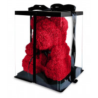 Медведь из красных роз с бантом 40 см в подарочной упаковке