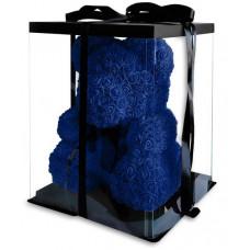 Мишка из синих роз 40 см