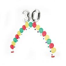 Цепочка с разноцветными шариками и 2 цифрами