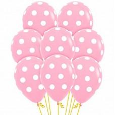 Розовые шары в белый горох