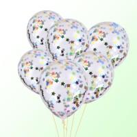 Гелиевые шары с  конфетти разноцветные звездочки