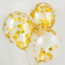 Гелиевые шарики с конфетти золотые звёзды