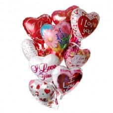 Набор из 11 разноцветных сердец  с рисунком