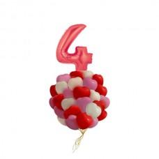 Набор из 25 разноцветных шаров-сердец и шар-четверка из фольги для любимого именинника