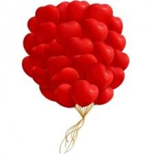 Набор из 27 красных воздушных шаров сердец одного размера