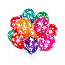 15 разноцветных шаров с рисунком звёзд