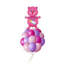 Набор из 15 разноцветных шаров и шар-медвежонок из фольги для новорожденной