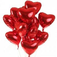 Акция! Набор из 15 красных сердец из фольги