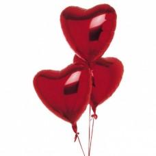 Набор из 3 красных сердец из фольги