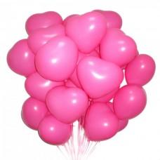 Набор из 25 розовых воздушных шаров сердец одного размера